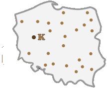 Zarys mapy Polski z punktami dilerskimi