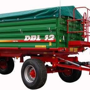 Przyczepa rolnicz DBL 12, dwuosiowa o ładowności 12 ton, trójstronny obrót