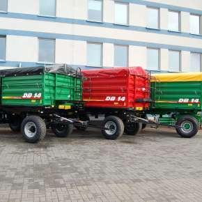 Przyczepa Metaltech DB, od 6 do 14 ton w różnych kolorach na życzenie klienta, trójstronny wywrót, dwuosiowa