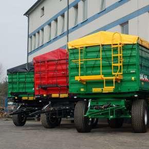 Przyczepa Metaltech DB , od 6 do 14 ton w różnych kolorach na życzenie klienta, trójstronny wywrót, dwuosiowa