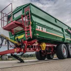 Przyczepa rolnicza TS 18 z firmy Metaltech, tandemowa o zastowaniu do przewozu zbóż i okopowych