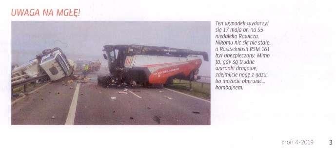 Wypadek drogowy z udziałem kombajnu Rostelmash