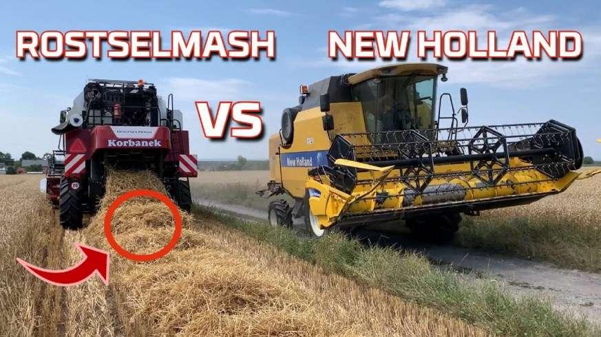Tapeta kombajnu Rostselmash vs New Holland podczas żniw 2019 na teście w polu z opinią rolnika od www.korbanek.pl