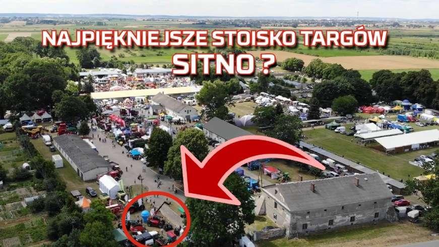 Targi rolnicze z lotu ptaka w miejscowości Sitno 2019 wystawa maszyn rolniczych, traktorów, kombajnów z Korbanek na stoisku