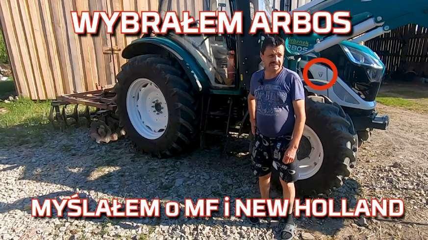 Tapeta rolnika przy ciągniku Arbos jako nowy nabytek po zastanawianiu się czy kupić MF czy New Holland na www.korbanek.pl