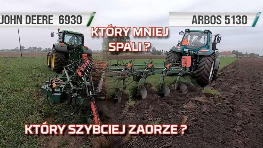 Tapeta John Deere vs Arbos ciągniki podczas orki na polu - traktory w teście spalania i wydajności www.korbanek.pl