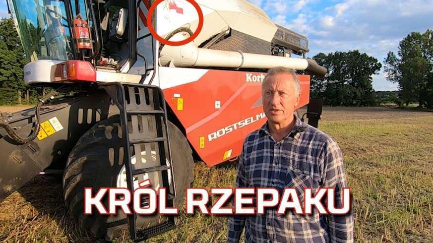 Tapeta króla rzepaku - kombajn Rostselmash Nova i rolnik Ciecióra z łódzkiego od Korbanek