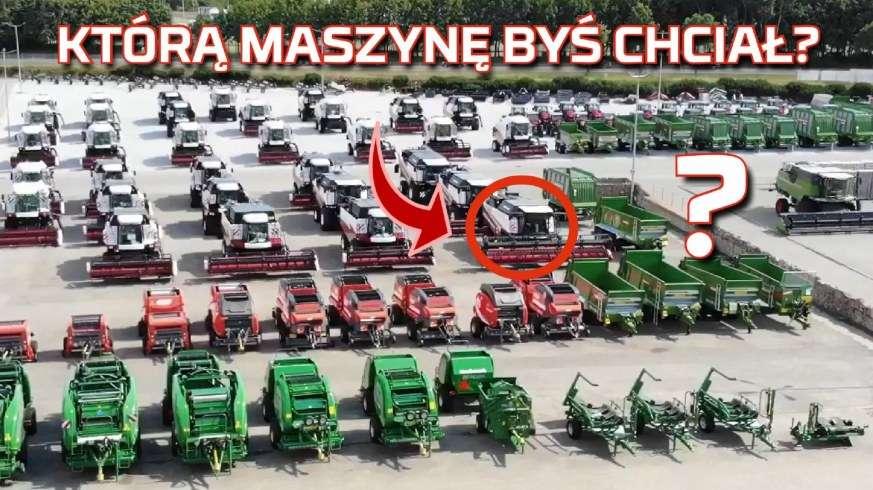 Tapeta dużej ilości maszyn na placu firmy Korbanek m.in. Fendt, Rostselmash, Arbos, McHale, Maschio, Bergmann od www.korbanek.pl