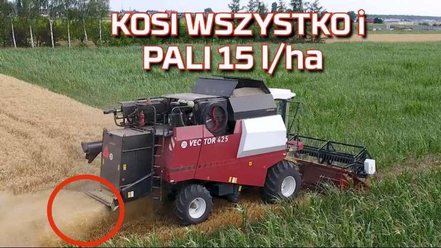Tapeta kombajnu zbożowego Rostselmash Vector podczas żniw 2019 koszący wszystko od Korbanek www.korbanek.pl