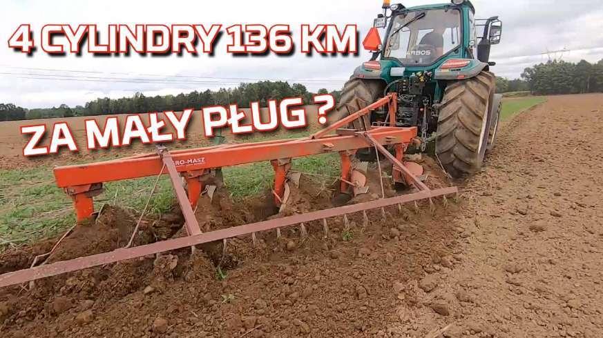 Tapeta z traktorem 4 cylindry 136 KM ciągnie pług zagonowy 5 skib To za mało Test Opinia Nowy Nabytek Ciągnik Arbos www.korbanek.pl
