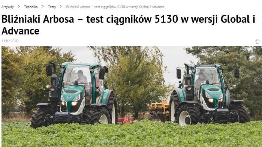 Top Agrar Polska Bliźniaki Arbosa testy ciągników 5130
