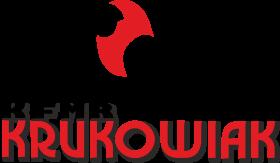 logo KFMR Krukowiak - napis i lew, czerwono-czarna kolorystyka