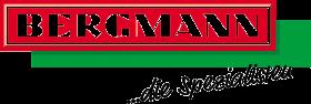Logotyp firmu bergman napis biały na czerwono zielonym tle