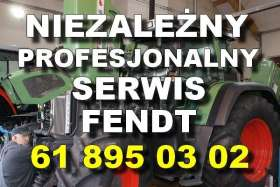 Niezależny profesjonalny serwis Fendt biały napis na tle ciągnika Fendt