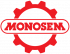 logo Monosem duże w kole zębatym czerwone