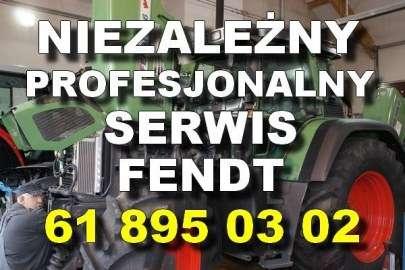 Niezależny profesjonalny serwis Fendt biały napis na tle ciagnika Fendt