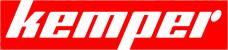 Biały napis Kemper na czerwonym tle