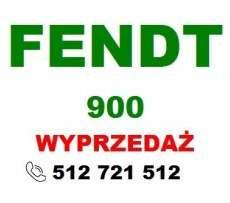 czerwony napis wyprzedaż i zielony Fendt na białym tle