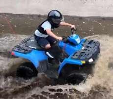 Sportsman 110 quad Polaris atv kolor niebieski felgi stalowe światła z przodu pojazdu Quad dla dzieci flaga z tyłu pojazdu Korbanek.pl