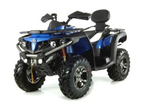 pojazd czterokołowy Quad niebiesko czarny lewy przód