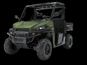 Zielony ciągnik Polaris seria RANGER Diesel HD dwuosobowy z bagażnikiem