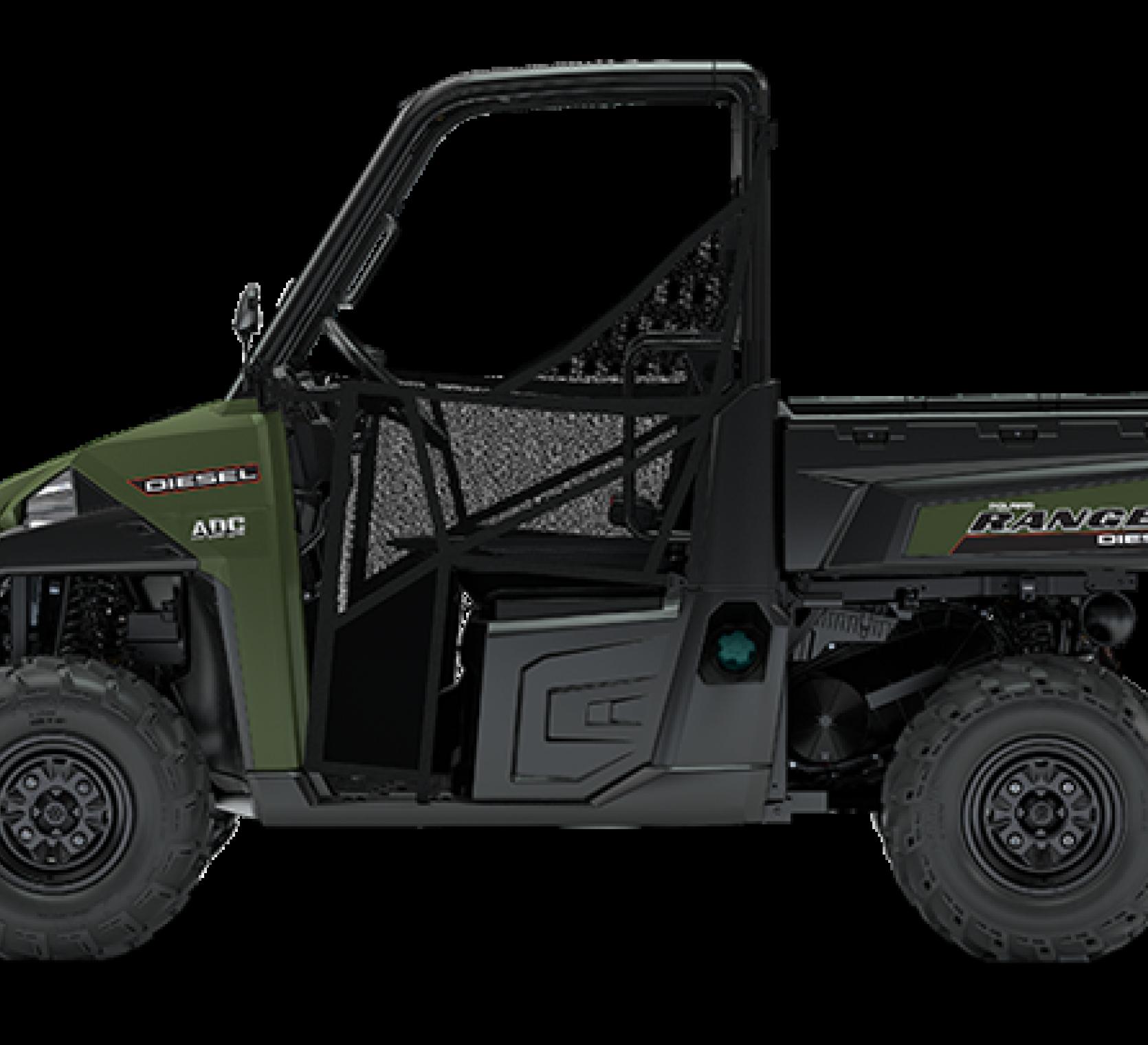 Zielony quad marki Polaris seria RANGER Diesel HD dwuosobowy z bagażnikiem widok na bok pojazdu