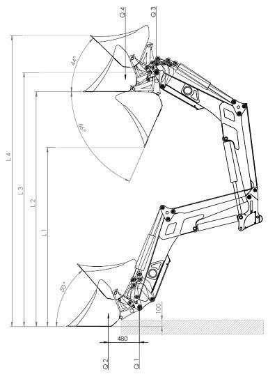 Techniczny rysunek, zawierający wymiary ładowacza Hydramet model Xtreme 2.