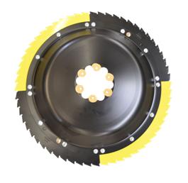 Szybko obrotowy rotor tnący żółto srebrny