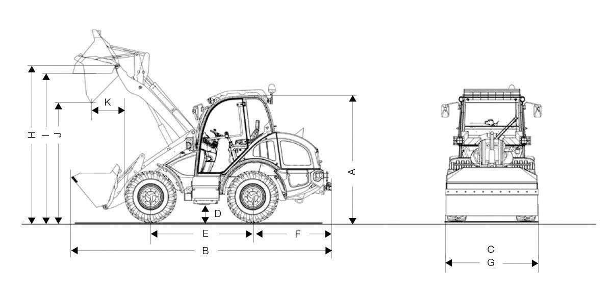 Rysunek techniczny z wymiarami ładowarki kołowej Kramer KL 31.5 widok na bok i przód maszyny