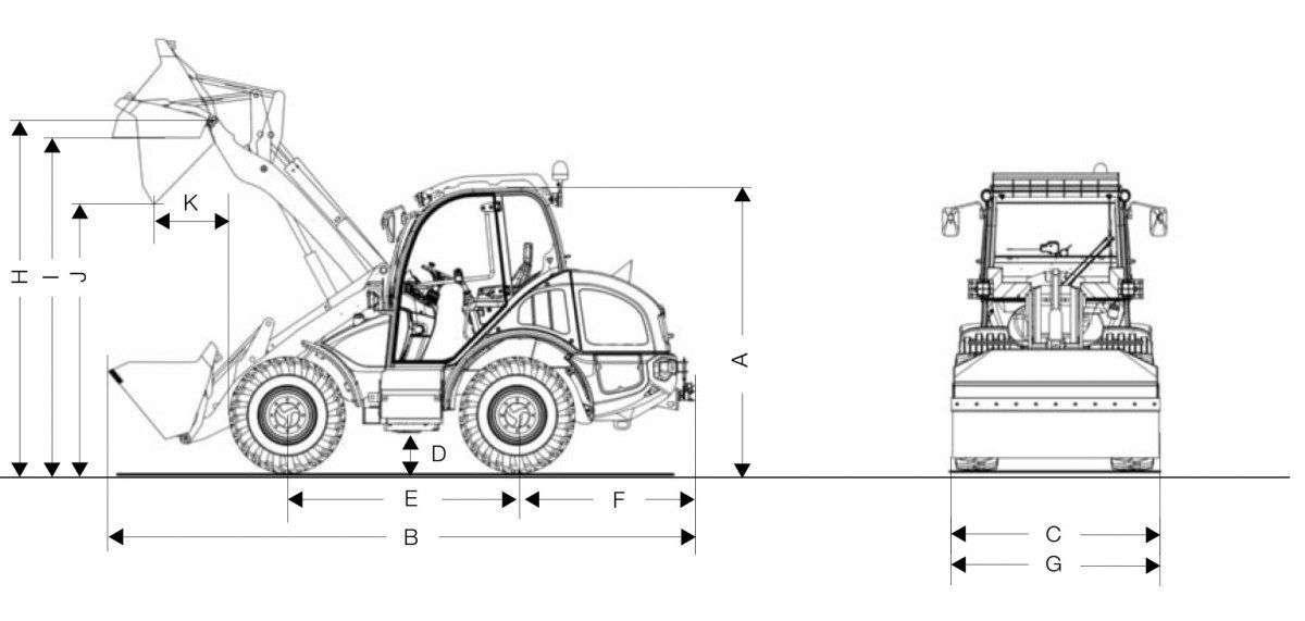 Rysunek techniczny ładowarki Kramer KL43.8 z podanymi wymiarami widok na bo i przód maszyny od korbanek.pl