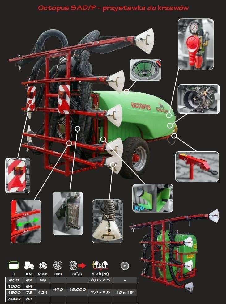 Opryskiwacz krukowiak octopus z przystawką sad/p zbliżenie na poszczegulne elementy konstrukcyjne wersji opryskiwacza z przystawką do krzewów