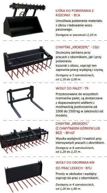 Osprzęt do ładowaczy czołowych MX - chwytaki do obornika, kiszonki, palet, paleciarka  Korbanek.pl