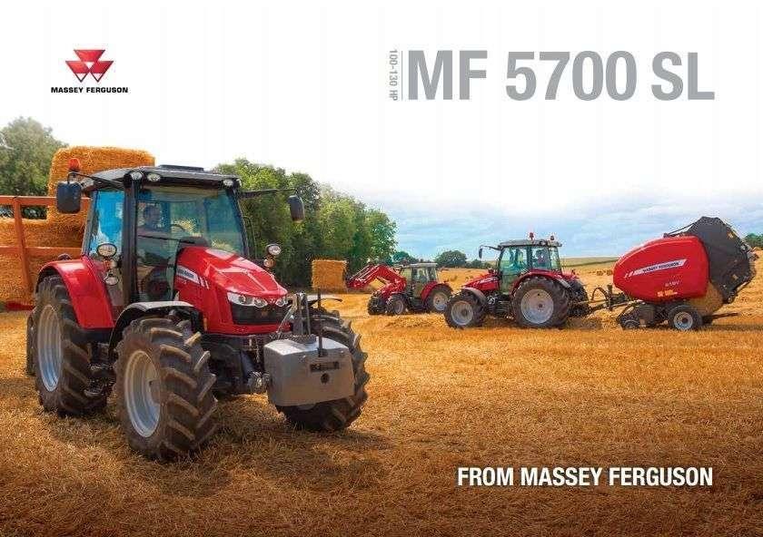 prospekt Ciągnik Massey Ferguson 5700SL broszura reklamowa trzy ciągniki z prasą ładowaczem czołowym i przyczepą