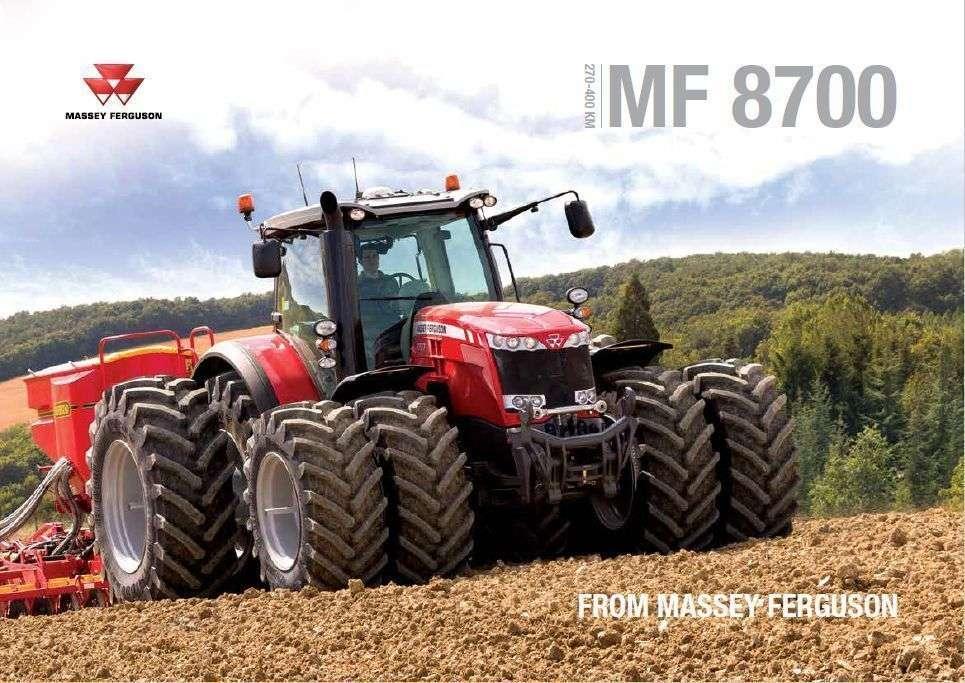 prospekt reklamowy ciągnika rolniczego Massey Ferguson serii 8700 na zdjęciu z kołami bliźniaczymi z agregaten uprawowo siewnym