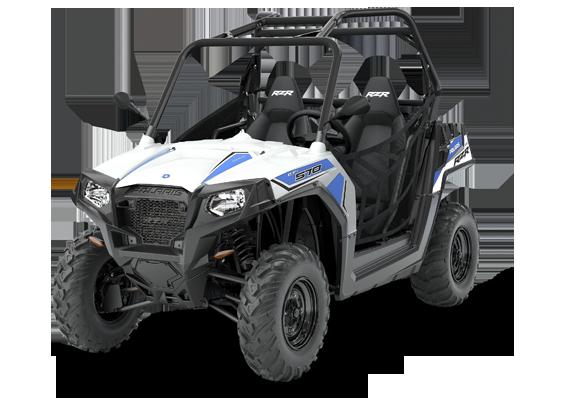 RZR 570 Polaris EPS pojazd w zastosowaniu grupy SxS pasy bezpieczeństwa kolor biały kierownica samochodowa klasyczna orurowana klatka bezpieczeństwa felgi stalowe