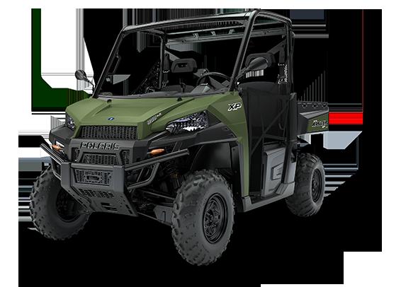 Ranger Polaris 1000 Xp ADC kontrola zjazdu wersja dla trzech osób siatki boczne ochronne paka załadunkowa uchylna kolor zielony przedni zderzak metalowy felgi stalowe zagłówki foteli pasy bezpieczeństwa kierownica samochodowa napęd 2x4 4x4 Turf rozpiecie tylnej osi