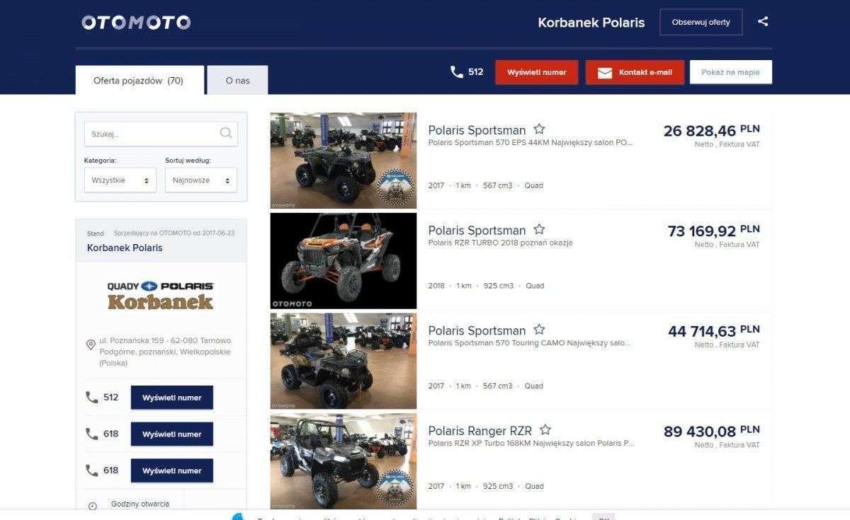 Otomoto zrzut ekranu reklama quadów Polaris
