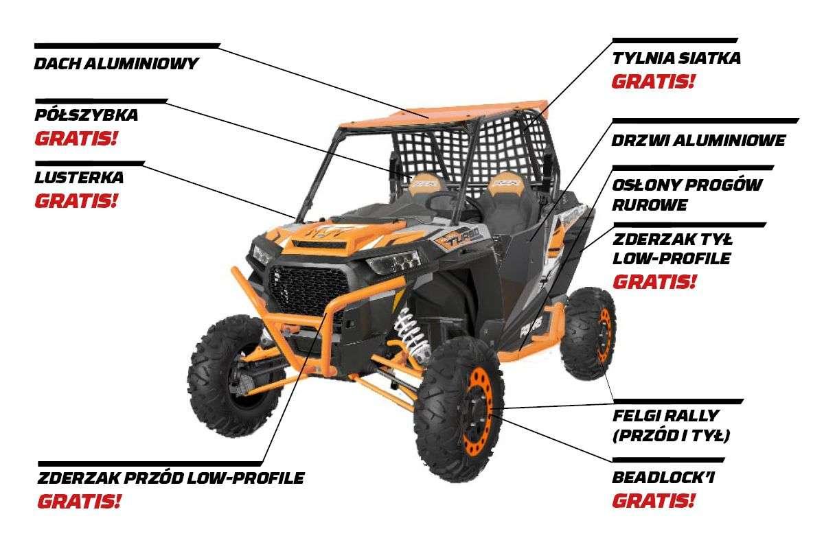 Ciągnik rolniczy POLARIS RZR XP TURBO SPORT bogata wersja w akcesoria dach aluminiowy siatka ochronna oraz klatka bezpieczeństwa pasy bezpieczeństwa pełne drzwi orurowanie progów felgi aluminiowe z bedlock  kolor pomarańczowy Korbanek.pl