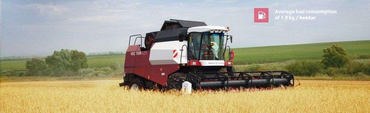 niskie zużycie paliwa na hektar kombajnu Rostselmash Vector 425 duża oszczędność