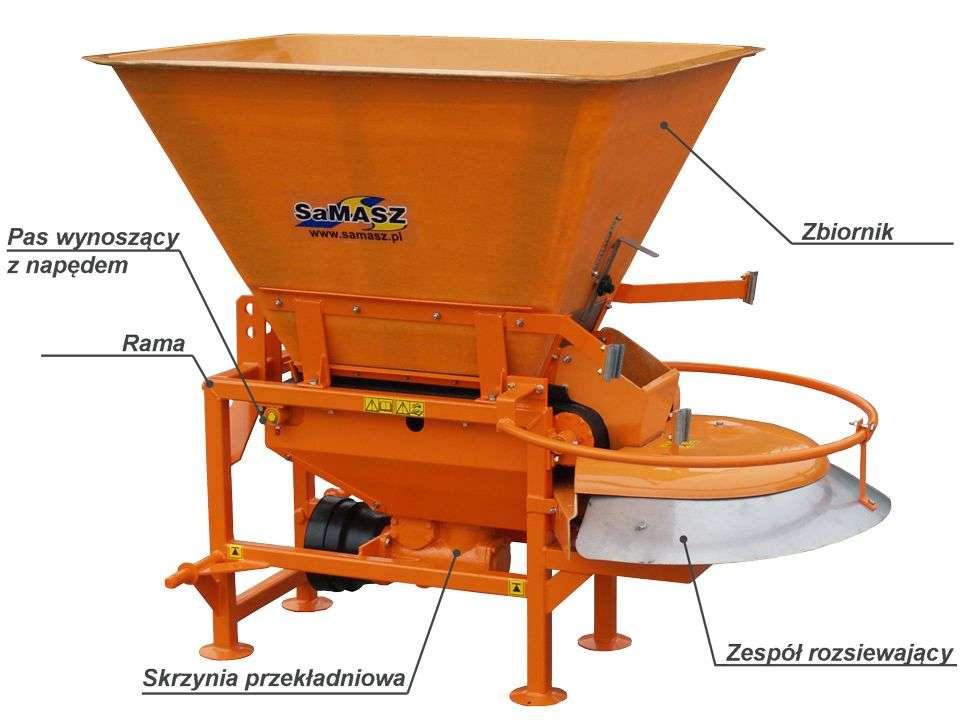 Posypywarka SAND firmy Samasz jest maszyną zawieszaną, przystosowaną do współpracy z ciągnikami wyposażonymi w trzypunktowy układ zawieszenia.