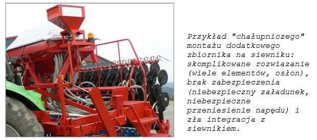Przykład chałupniczego montażu dodatkowego zbiornika na siewniku